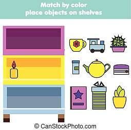 Matching children educational game. Kids activity. Match objects by color