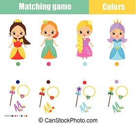 Matching children educational game. Match by color. Connect princess with objects. Learn colors for kids and toddlers