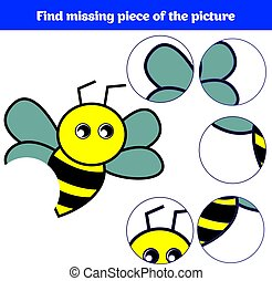 Matching children educational game. Match insects parts....