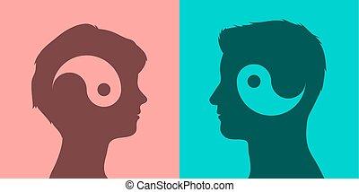 Matching couple yin yang concept