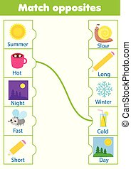 Matching game. Educational children activity. match opposites. Activity for pre scholl years kids and toddlers
