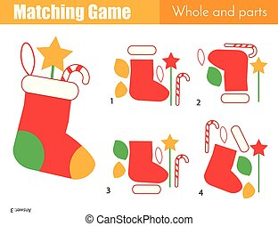 Matching game. Educational children activity with Christmas...