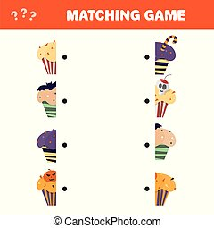 Matching game. Educational children activity with Halloween cupcakes