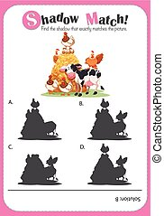 Matching game templat with farm animals