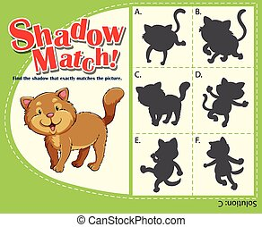 Matching game template with cat