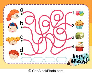 Matching game template with kids and desserts illustration