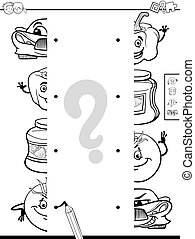 matching halves activity coloring page - Black and White...