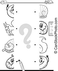 matching halves game coloring book - Black and White Cartoon...