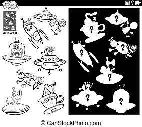 Black and White Cartoon Illustration of Match Objects and the Right Shape or Silhouette with Ufo and Alien Characters Educational Game for Children Coloring Book Page