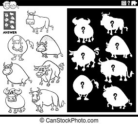Black and White Cartoon Illustration of Match Objects and the Right Shape or Silhouette with Bulls Farm Animal Characters Educational Game for Children Coloring Book Page