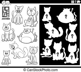Black and White Cartoon Illustration of Match Objects and the Right Shape or Silhouette with Cats Animal Characters Educational Game for Children Coloring Book Page