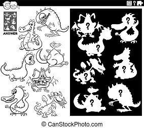 Black and White Cartoon Illustration of Match Objects and the Right Shape or Silhouette with Dragons Fantasy Characters Educational Game for Children Coloring Book Page