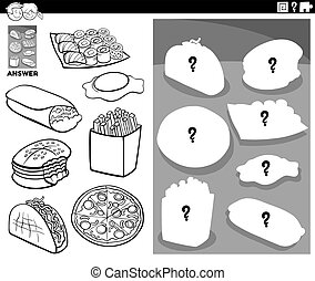 Black and White Cartoon Illustration of Match Objects and the Right Shape or Silhouette with Food Objects Educational Game for Children Coloring Book Page
