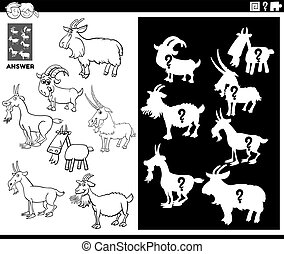 Black and White Cartoon Illustration of Match Objects and the Right Shape or Silhouette with Goats Farm Animal Characters Educational Game for Children Coloring Book Page