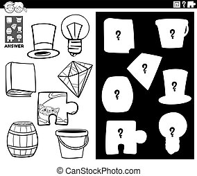 Black and White Cartoon Illustration of Match Objects and the Right Shape or Silhouette with Objects Educational Game for Children Coloring Book Page