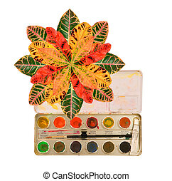 matching watercolor with leaves