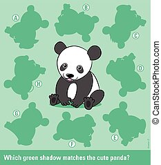 Matching young cartoon panda bear with the right shadow -...