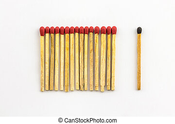 matchstick. - A series of red matches are next to each other...