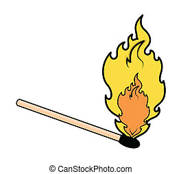 Drawing Art of Matchstick Fire Flame Vector Illustration