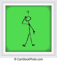 Matchstick man with a question