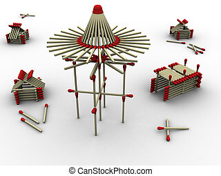 3d rendered image of a mill and some housing and storage made up of matches. Very highly detailed.