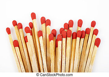 Matchstick - Red matchstick on white background