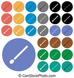 Matchstick round flat multi colored icons