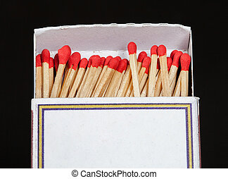 Matchsticks and box on isolated background