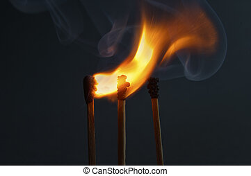Matchsticks with flame