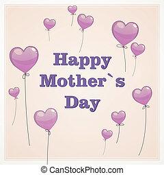 matczyny, wektor, dzień, karta, powitanie