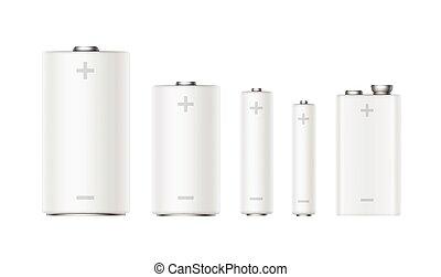 mate, alcalino, blanco, baterías, conjunto, tamaño, diffrent