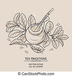 mate - Illustration with mate tea in calabash and bombilla