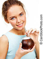 Mate lover - Portrait of pretty young girl with brown...