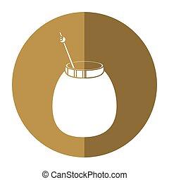 mate tea calabash herb-circle icon shadow vector...
