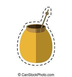 mate tea calabash herb-cut line vector illustration eps 10
