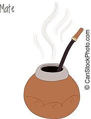 Mate tea, calabash, vector illustration - Mate tea...