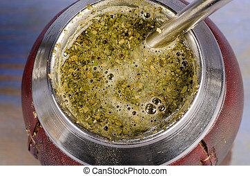 Mate tea - Closeup take of a brewing mate herb tea