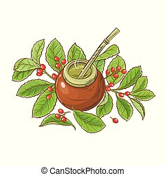 mate tea vector illustration on white background