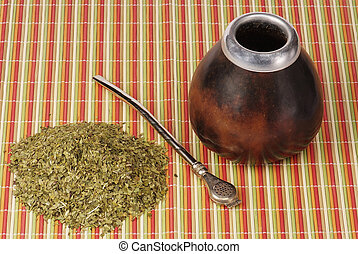 mate with calabash on colorful bamboo mate