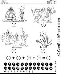 matek, nevelési, színezés, játék, oldal