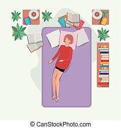 matelas, femme, jeune, délassant, chambre à coucher