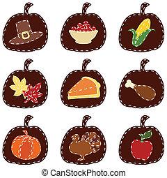 matelassé, ensemble, thanksgiving, icônes