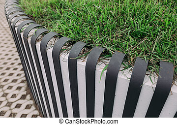Matellic fence near the lawn