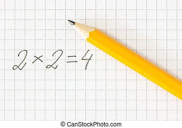 matemática, fórmula, e, lápis, ligado, quadrado, papel