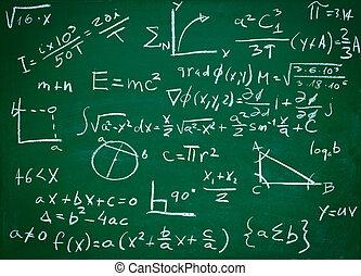 matemática, fórmulas, ligado, escola, quadro-negro, educação