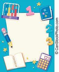 matemática, papel, objetos, quadro, fundo, ilustração