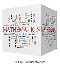 matemáticas, 3d, cubo, palabra, nube, concepto