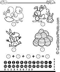 matemáticas, actividad, juego, colorido, página