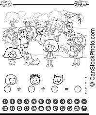 matemáticas, actividad, libro colorear
