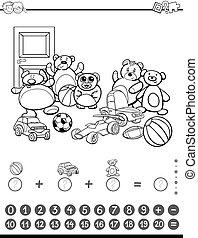 matemáticas, actividad, para, colorido